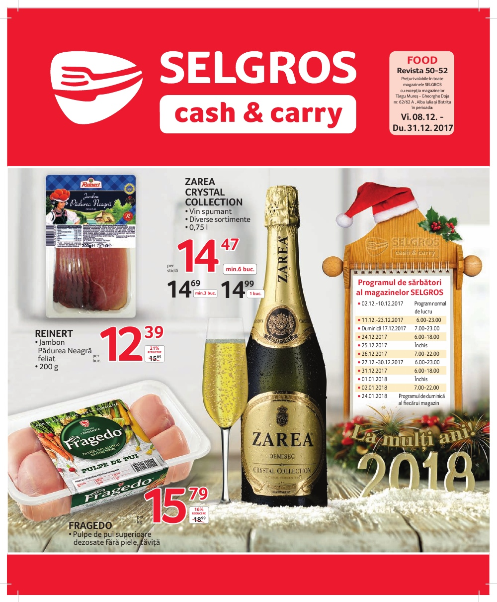 Catalog Selgros 8 decembrie -31 decembrie 2017. Oferte alimentare