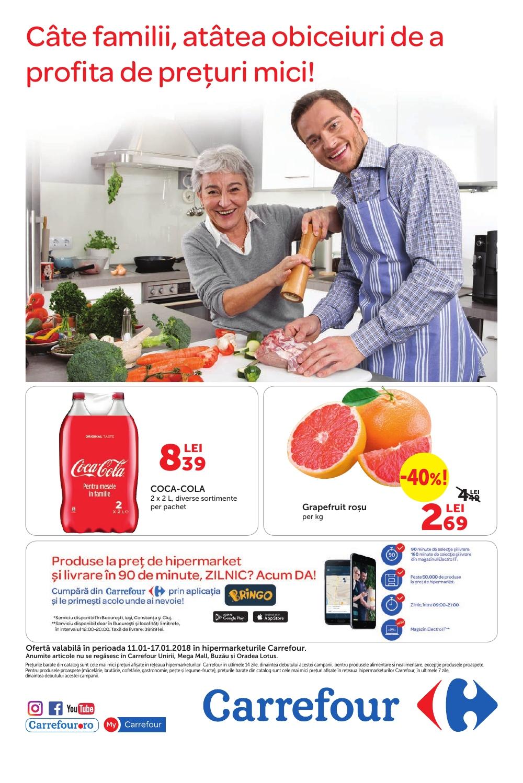 Catalog Carrefour 11 ianuarie - 17 ianuarie 2017. Produse alimentare
