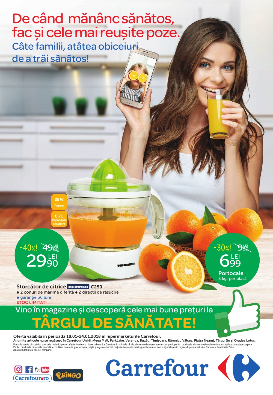 Catalog Carrefour 1 ianuarie - 24 ianuarie 2018. Produse alimentare